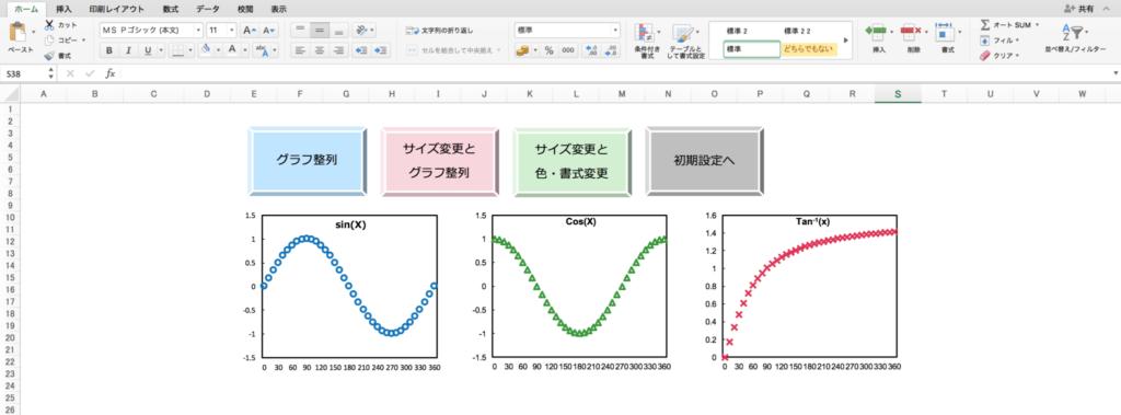 グラフのサイズ・色・書式変更と整列